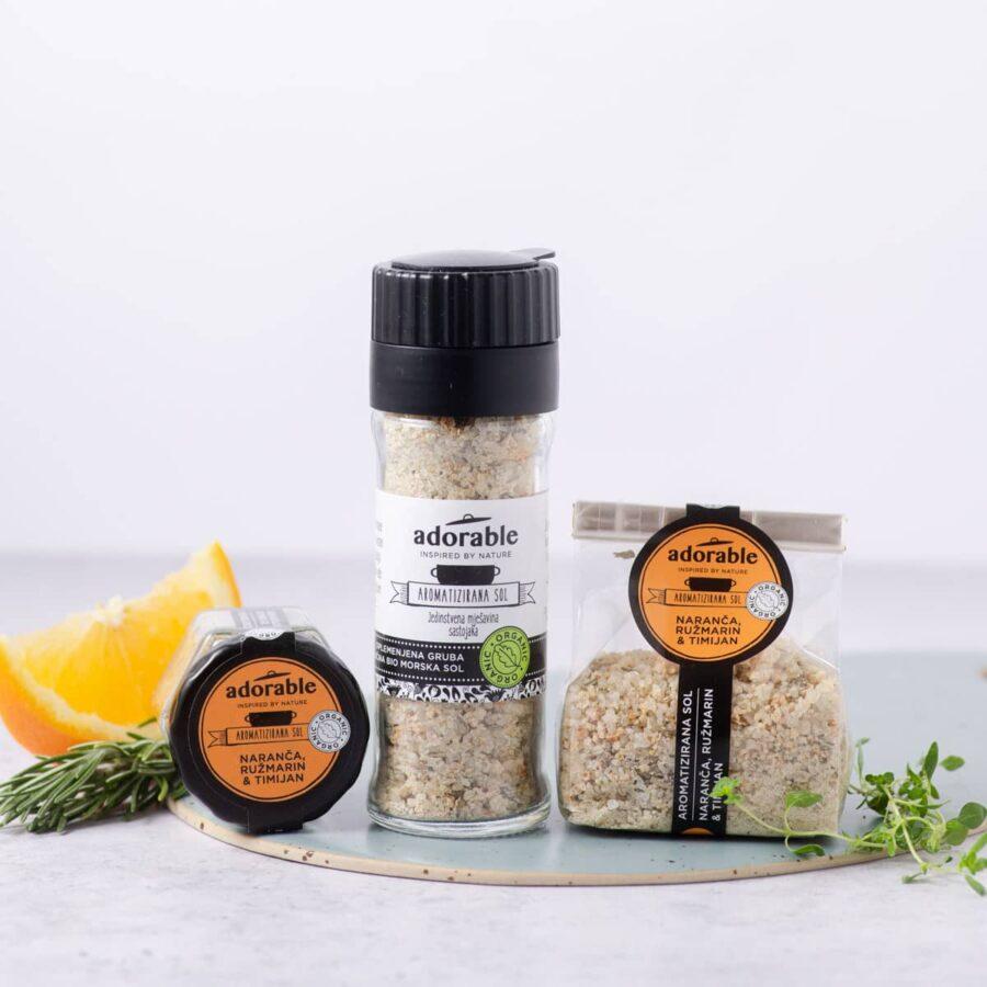 Aromatizirana sol od naranče, ružmarina i timijana